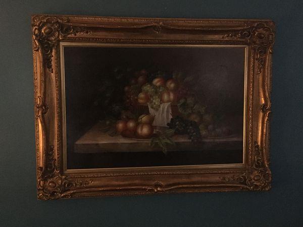 Framed traditional still life oil painting
