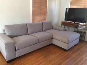 Quality sectional couch: $600 / CA King Bed Frame: $300 / Wooden Book Shelf: $100 for Sale in San Diego, CA