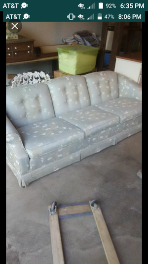 Couch sofa love seat beautiful pretty blue flowered free delivery in Visalia for Sale in Visalia, CA