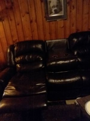 Leather reclining couch for Sale in Akron, OH