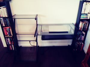 Desk with glass shelving for Sale in Los Angeles, CA