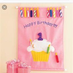 Velcro Happy birthday Cupcake banner wih 16 Velcro Candles for Sale in Brandon,  FL
