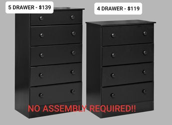 BRAND NEW 4 AND 5 DRAWER DRESSERS - NO ASSEMBLY REQUIRED! for Sale in Rock Island,  IL