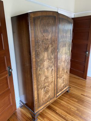 Burl-wood armoire, antique for Sale in Seattle, WA