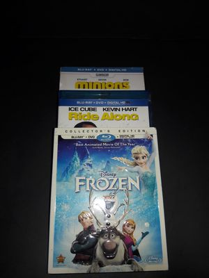 Frozen, Ride Along, Minions Blu Ray Disc x3 for Sale in Milwaukee, WI