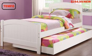 Twin Bed Frame with Trundle, White , F9218 for Sale in Pico Rivera, CA