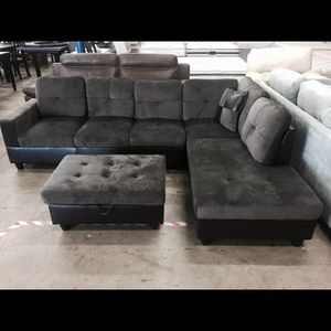 Dark Gray Microfiber Sectional Couch And Ottoman for Sale in Mountlake Terrace, WA