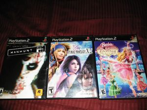Manhunt, Final Fantasy X-2, Barbie 12 Dancing Princesses PS2 PlayStation 2 for Sale in Everett, WA