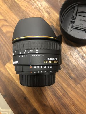 Sigma 15mm 1:28 exdg fisheye lens for Sale in Tallahassee, FL