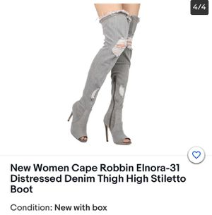 Women Distressed Gray Denim Thigh High Stiletto Boot size 8 for Sale in Houston, TX