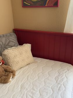 RED SOLID WOOD TWIN HEADBOARD AND BED FRAME Littleton near crossroads Simms&WBowles for Sale in Littleton,  CO
