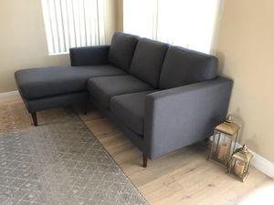 """NEW Rivet Revolve MidCentury Modern Gray Upholstered Sofa w/ Reversible Sectional Chaise, 80""""W for Sale in Glendale, AZ"""