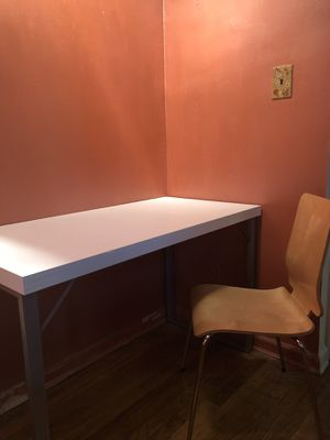 Simple White Desk + Free Chair for Sale in New York, NY