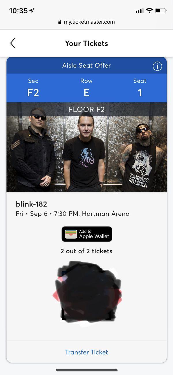 Blink 182 (2 tickets)
