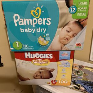 Diapers Pampers (120) & Huggies (100) NWOT - Size 1 Qty 2 for Sale in Downey, CA