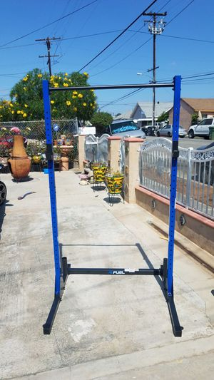 Power Squat rack with pull up bar, plate and barbell holds with optional floor anchor points 500lb capacity for Sale in Montebello, CA