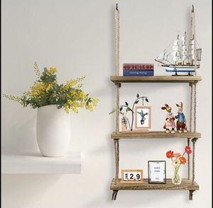 Wall Hanging Shelf, 3 Tier Distressed Wood Swing Storage Shelves Organizer Rack for Sale in Frisco, TX