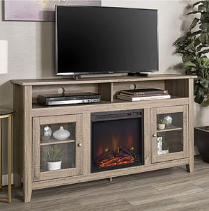 Driftwood TV Stand up to 64 inches with Fireplace Cabinet for Living Room for Sale in ROWLAND HGHTS, CA