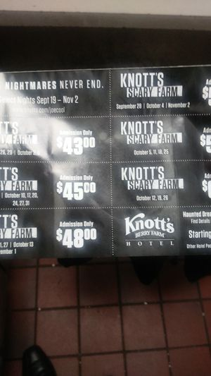 Packet of knotts scary farm coupons for only 20 bucks! Is negotiable for Sale in Fullerton, CA
