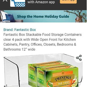 Fantastic Box Stackable Food Storage Containers clear 8 pack with Wide Open Front for Kitchen Cabinets, Pantry, Offices, Closets, Bedrooms & Bathrooms for Sale in Las Vegas, NV