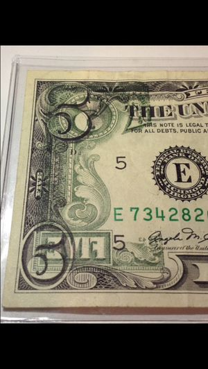 RARE Huge Printing Offset Error 1981 $5 Dollar Bill- Back to Front Offset Print- Highly Valuable Error Bill for Sale in Washington, DC