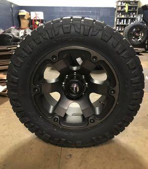 "5) 20x10 Fuel D564 Beast Black 35"" Nitto Wheels Rims Tires 5x5 Jeep Wrangler JK Fuel Offroad & Nitto Ridge Grappler Package Jeep JK JL for Sale in Lakeland, FL"