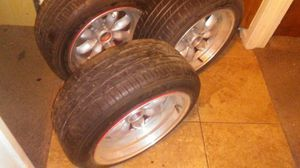 "15"" offset 4 lug universal,tires tread still @ 50 percent for Sale in Mount Hope, KS"