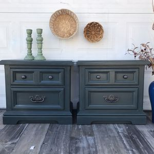Antique solid wood teal green blue end table night stand set cabinet dresser for Sale in Rancho Cucamonga, CA
