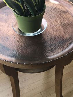 Side Table Round & Metal Top 23 Diam x 25 H Or Plant Stand Bohemian for Sale in Seattle,  WA