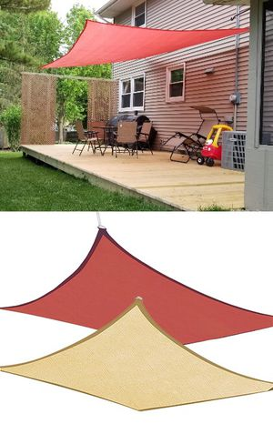 New $32 each 12x12' Square Sun Shade Sail UV Top Cover Outdoor Patio Canopy (Tan or Red) for Sale in South El Monte, CA