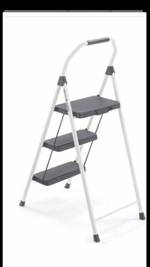 Brand new gorilla 3-Step ladder 225 lbs. Capacity white Steel Foldable Step Stool Firm $35 Each for Sale in Fontana, CA
