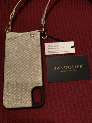 Brand new BANDOLIER phone crossbody wallet case & strap for iPhone X XS glittery gold for Sale in Glen Carbon, IL