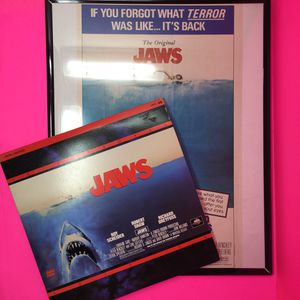 JAWS VINTAGE FRAMED POSTER AND LASER DISC for Sale in Hyattsville, MD