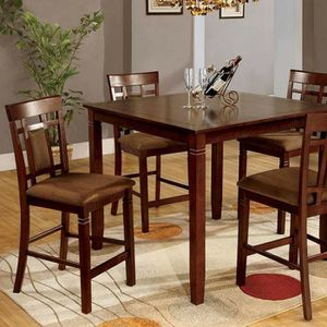 Dark Cherry Finish 5 PIECE COUNTER HEIGHT DINING TABLE SET for Sale in Riverside, CA
