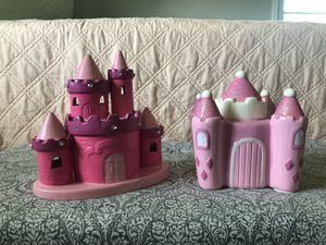 2 Pink Castle Piggy Banks for Sale in Warrenton, VA