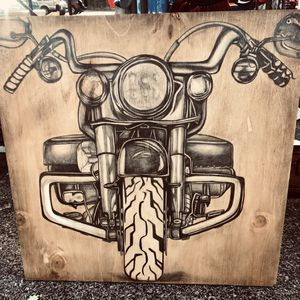 Hand Drawn Motorcycle On Wood Sign Harley Davidson for Sale in Springfield, TN