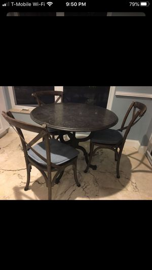 Kitchen Table Blue stone and Metal Restoration hardware Style for Sale in Delray Beach, FL