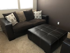 Couch, love seat, large ottoman, end table with storage for Sale in Santee, CA