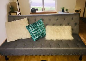 Gray flint fabric click clack sofa bed for Sale in Puyallup, WA