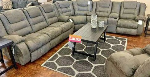 SAME DAY free delivery 🛷McCade Cobblestone Reclining Sectional ● sofa , couch 🛷 for Sale in Bellaire,  TX