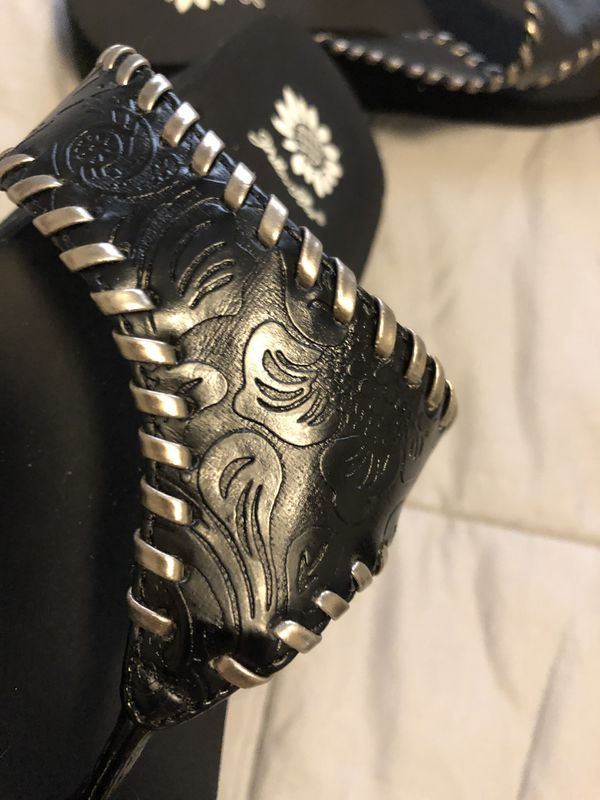 Black embossed and Silver trim Sandals (Brand-YellowBox). *I have other offers posted.