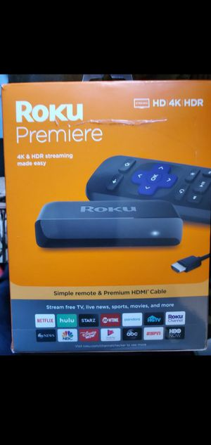 Roku Premiere | HD/4K/HDR Streaming Media Player, Simple Remote and Premium HDMI Cable for Sale in Santa Ana, CA