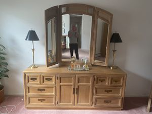 Bedroom furniture dresser mirror king size bed with lights for Sale in Marlboro Township, NJ