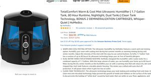 Humidifier, warm&cool mist, very quiet for Sale in Houston, TX