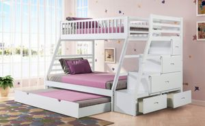 New White Twin/Full/Twin Bunk Bed With Storage for Sale in Austin, TX