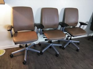3 Steelcase Amia Ergonomic Leather Office Chairs $200 each for Sale in Las Vegas, NV