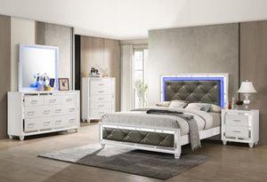 4 piece queen bedroom set queen bed frame dresser mirror and nightstand with neon lights for Sale in Antioch, CA