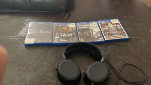 PS4 headset and 4 games for Sale in Festus, MO