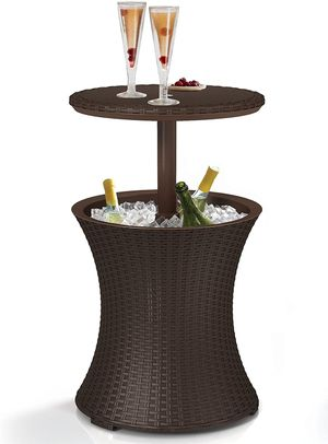 Bar Outdoor Patio Furniture and Hot Tub Side Table with 7.5 Gallon Beer and Wine Cooler, Espresso Brown for Sale in Wilkes-Barre, PA