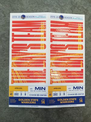 Golden State Warriors ticket lot of 2 for Sale in Hayward, CA